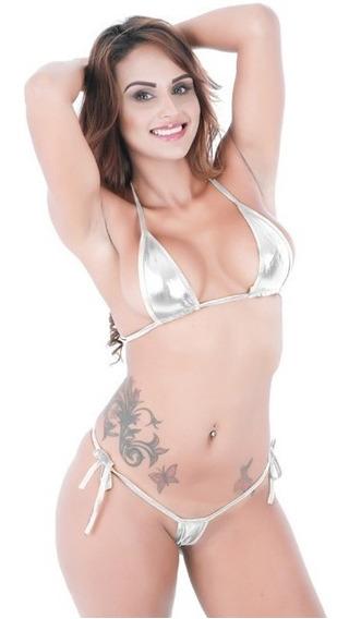 Micro Vestido De Baño Brillante - Conjunto Bra + Tanga