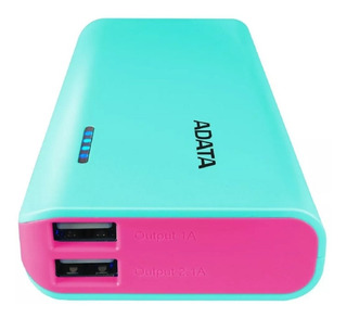 Power Bank 10000mah Adata Pt100 Bateria Portatil Led Rosa