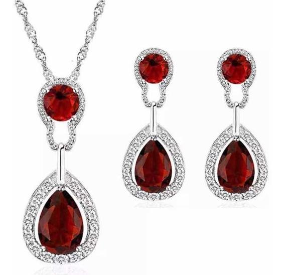 Aretes Y Collar Chapa Oro Blanco Con Cristales Rojo Swarovsk