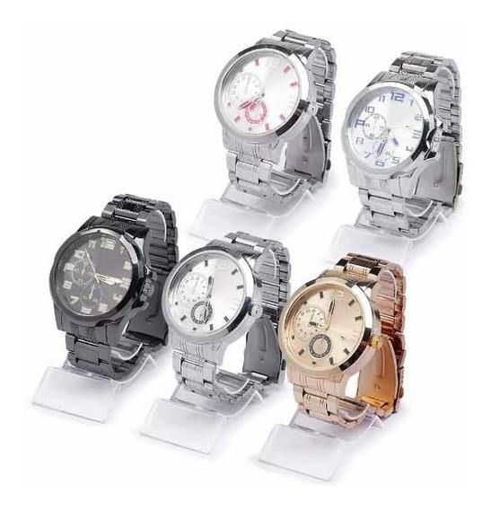 Kit C/ 5 Relógio Aço Atacado + 5 Relógio Led Feminino