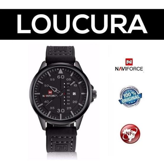 Relógio Naviforce Couro Esporte Com Nota Fiscal Original