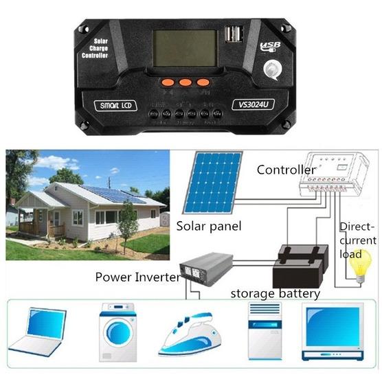 Controlador Carga Solar 80a Pwm 12v 24v Lcd Envio Rápido