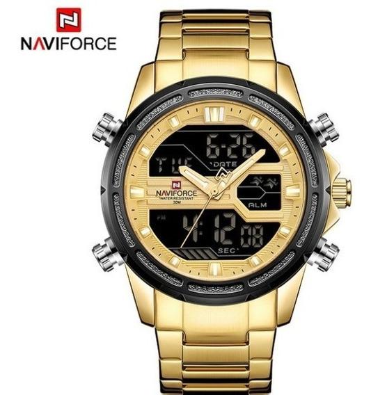 Relógio De Aço Inoxidável Naviforce 9138