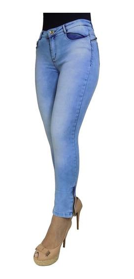 Calça Jeans Feminina Lycra Strech Cintura Alta Barra Zíper