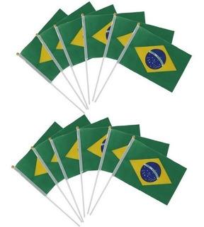 10 Bandeira Do Brasil De Mão Dia Independência 20x30
