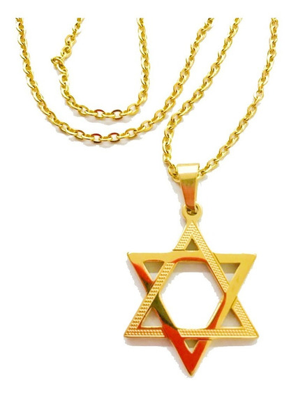 Colar Estrela De Davi Dourada Aço Inoxidável