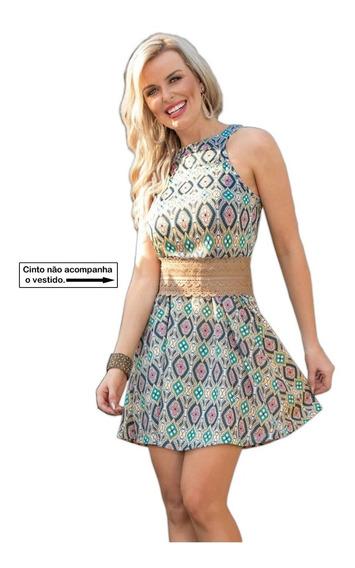 Vestido Feminino Curto Estampado Moda Casual Diversas Cores