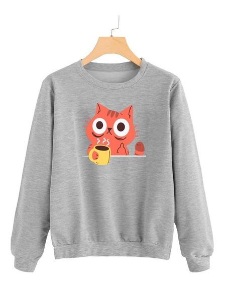 Buzo Buso Sweater Saco Mujer Cat Gato Tomando Cafe