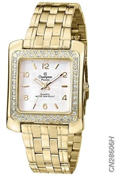 Relógio Feminino Champion Dourado Cn28606h -nfe/original