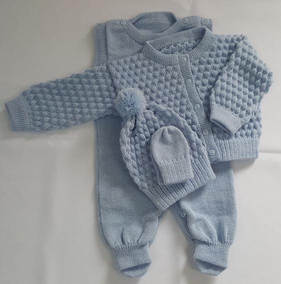 Conjunto P Salopete,casaco,touca E Luva Azul Bebê