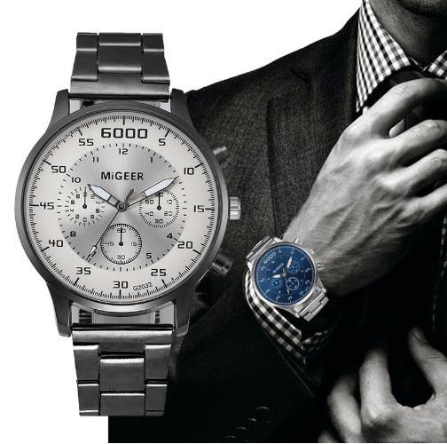Relógio Dos Homens Aço Inoxidável Analógico