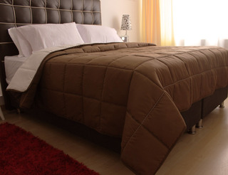 Edredon King Tipo Quilt Doble Faz Chocolate - Beige