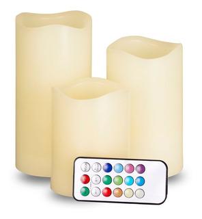 Juego Velas Led 3 Piezas 12 Colores Control Luminosidad