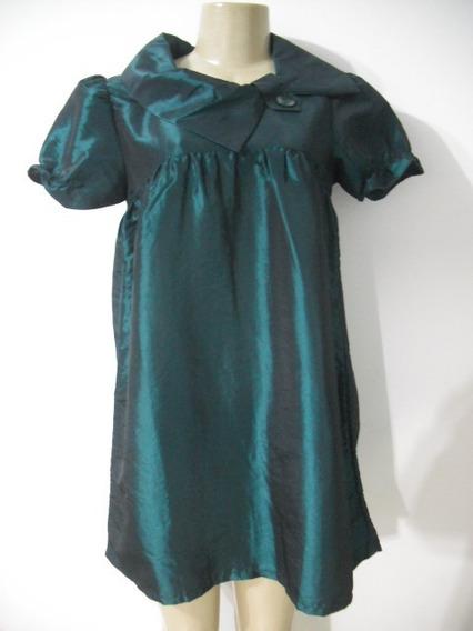 Vestido Bata Verde Tafetá Tam G Usado Bom Estado