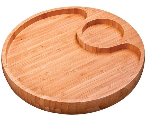 Tábua Gamela Com 2 Divisórias Bambu Para Churrasco 3364 Mor