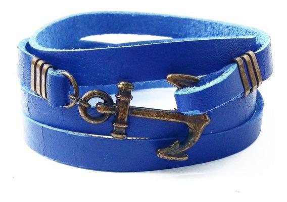 Pulseira Masculina Âncora Navy Hype Couro Legítimo Azul