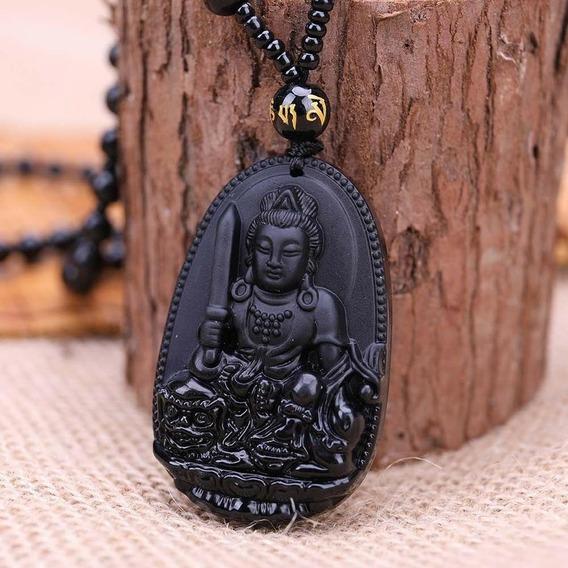 Colar Guanyin Pedra Natural Obsidiana Amuleto Sorte