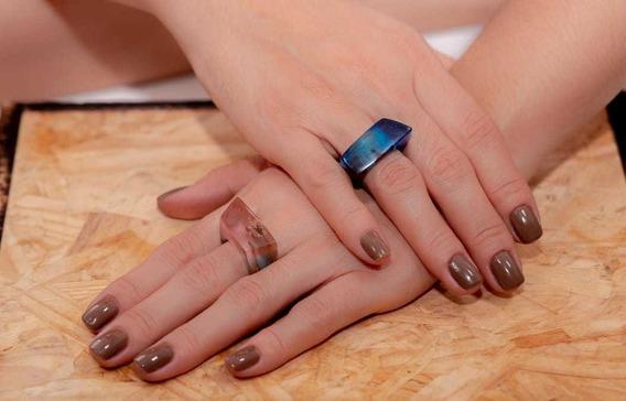 Anéis Resina Com Madeira Não É Prata/ouro/acrílico/aço