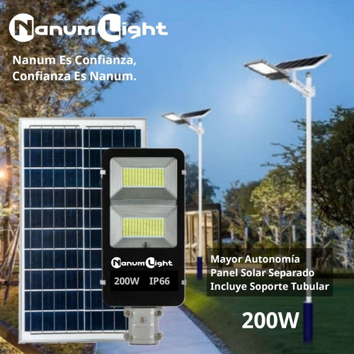 Alumbrado Público Con Panel Solar Separado 200w