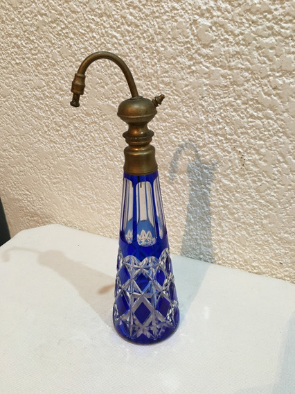 Antiguo Perfumero De Cristal Azul Para Decoracion - Alto: 27