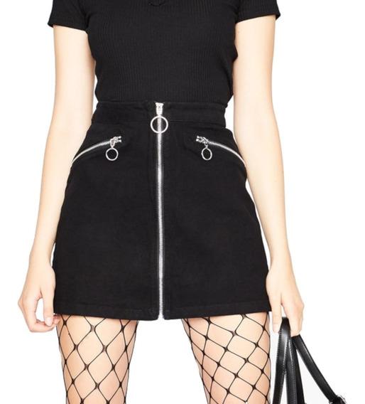 Falda Negra Gótica K-pop Falda Corta Elegante Con Cierres