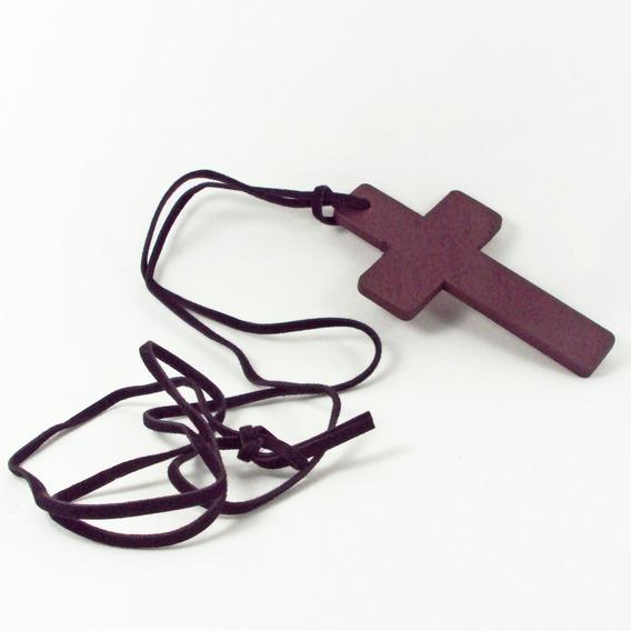 Crucifixo De Madeira Rústico Grande + Cordão De Couro Cruz