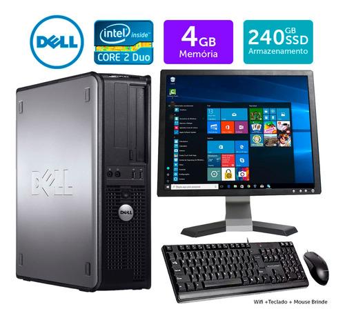 Imagem 1 de 5 de Cpu Barato Dell Optiplex Int C2duo 4gb Ssd240 Mon17q Brinde