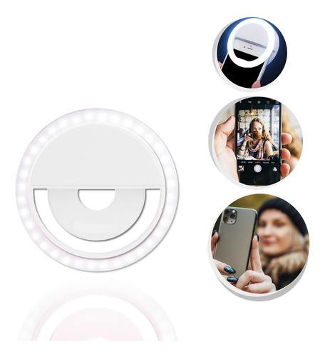 Flash Para Celular Luz Mini Ring Light Clipe Anel Led Branco