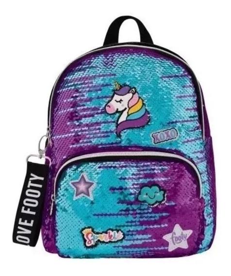 Mochila Escolar Infantil Unicornio Xoxo Celeste Footy 12 Pul