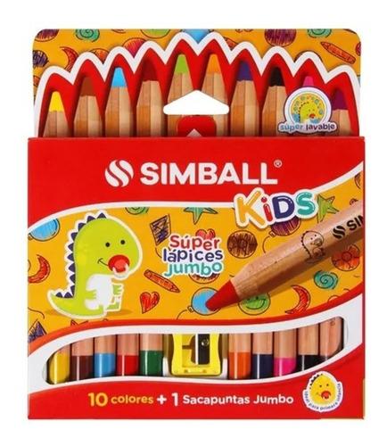 Imagen 1 de 4 de Súper Lápices Jumbo X 10 Colores Simball Kids + Sacapuntas