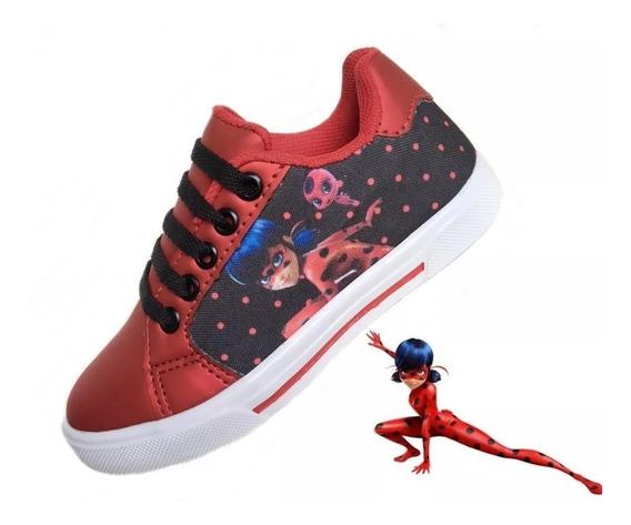 Tênis Infantil Desenho Personagens Ladybug Dia Das Crianças
