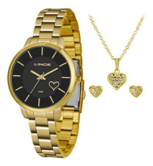 Kit Relógio Fem Lince Puls Aço 50m Ref. Lrg4607l-kw78p1kx
