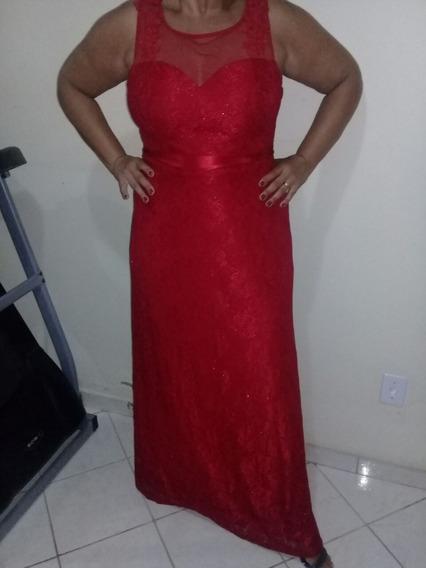Vestido Vermelho Com Renda Forrado
