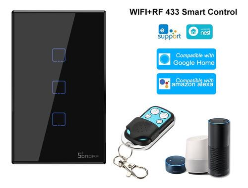 Imagen 1 de 9 de Sonoff T3us3c-tx 3 Gang Smart Wifi Interruptor De Luz De Par