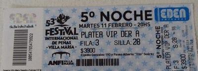 Vendo Entrada Vip Para La Noche Del Martes 11 Festival Villa