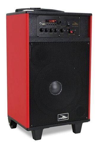 Caixa de som Grasep D-BH3202 portátil com bluetooth vermelha e preta