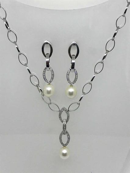 Glitter Conjunto Vivara Brinco Colar Ouro Pérolas Diamantes