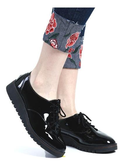 Zapatos Beira Rio Abotinados Oxfords Confort Charol Rimini