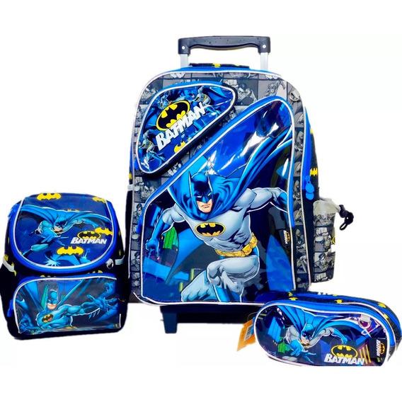 Kit Mochila Infantil Escolar De Rodinhas Grande Batman 2019