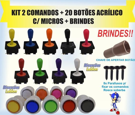 Kit 2 Comandos+20 Botões Acrílico P/ Fliperama Arcade Rasp