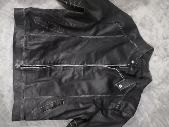 Chamarra De Piel Negra ,no Zara Ck Lacoste Biker