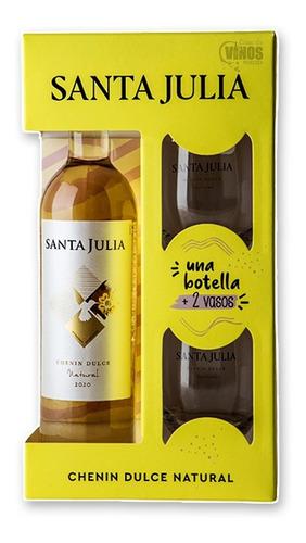 Estuche Vino Santa Julia Chenin Dulce + 2 Vasos Pack X4