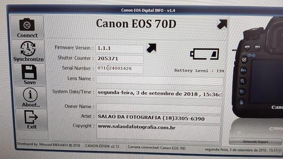 Câmera Canon Eos 70d Com 205371 Cliks -estudo Proposta