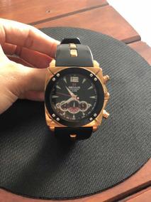 Relógio Seculus Preto Com Dourado (usado)