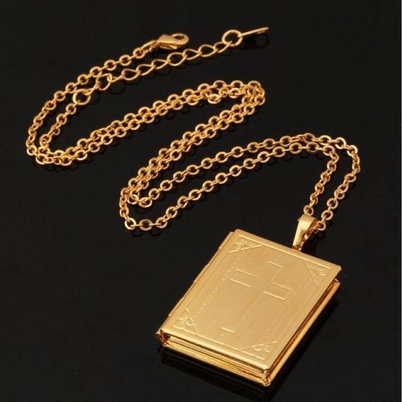 Colar Corrente Bíblia Ouro Banhado 18 K