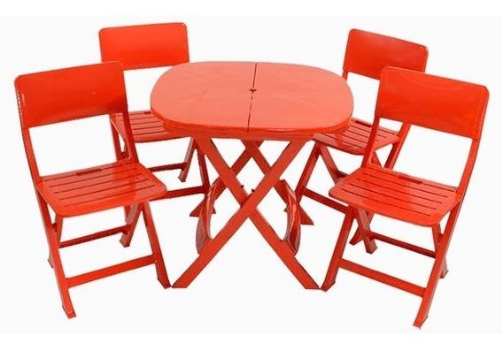 Conjunto De Mesa + 4 Cadeiras Dobráveis De Plastico Vermelha