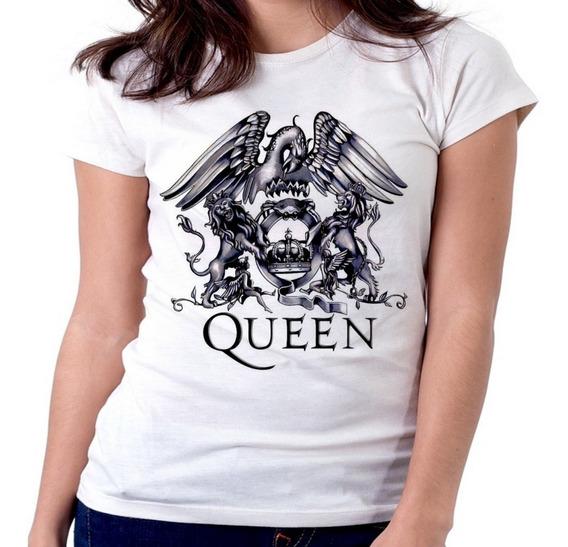 Blusa Feminina Baby Look Queen Logo Black Banda Rock Tamanho