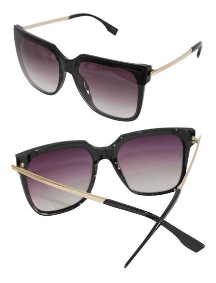 Óculos De Sol Feminino Quadrado Lente Degradê Uv 400