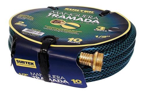 Surtek Manguera Tramada Verde 1/2  Armada Conector Metal 15m