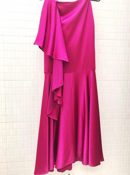 Falda Elegante Diseño Asimétrico Talla 2 Fucsia